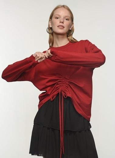 People By Fabrika People By Fabrika Belden Büzgü Detaylı Kadın Sweatshirt Bordo